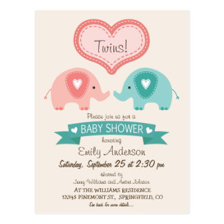 Boy & Girl Twin Pink & Teal Elephants Baby Shower Postcard