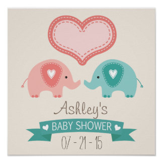 Boy & Girl Twin Pink & Teal Elephants Baby Shower Poster