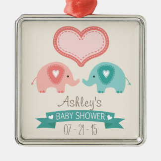 Boy & Girl Twin Pink & Teal Elephants Baby Shower Square Metal Christmas Ornament
