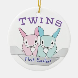 Boy Girl Twins 1st Easter ornament