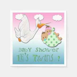 Boy & Girl Twins 2 - Stork Baby Shower Paper Napki Napkin