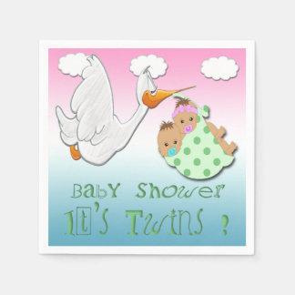 Boy & Girl Twins 2 - Stork Baby Shower Paper Napki Disposable Napkins