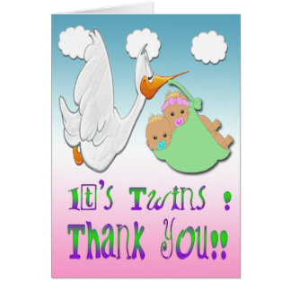 Boy & Girl Twins 2 - Stork Baby Shower Thank You Card