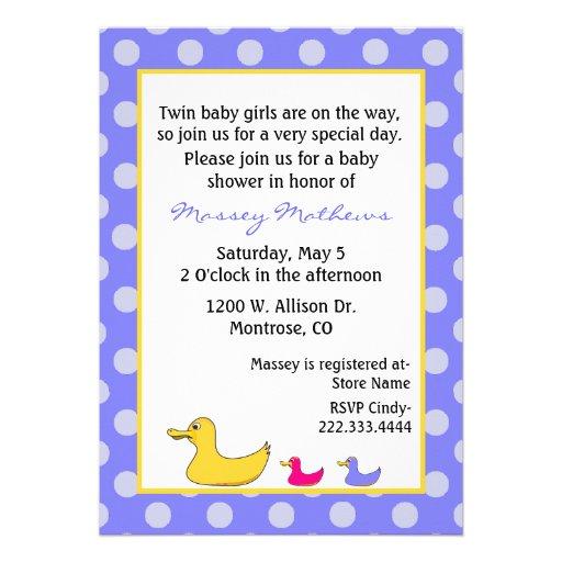girl twins baby shower invitation 5 x 7 invitation card