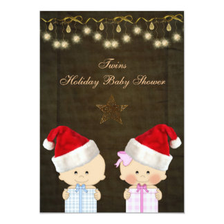 Boy & Girl Twins Christmas Baby Shower 5x7 Paper Invitation Card