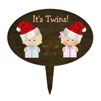 Boy & Girl Twins Christmas Baby Shower Cake Topper