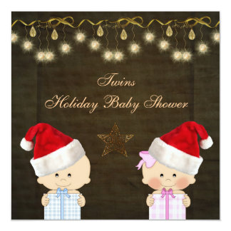 """Boy & Girl Twins Christmas Baby Shower 5.25"""" Square Invitation Card"""