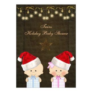 Boy Girl Twins Christmas Baby Shower Card