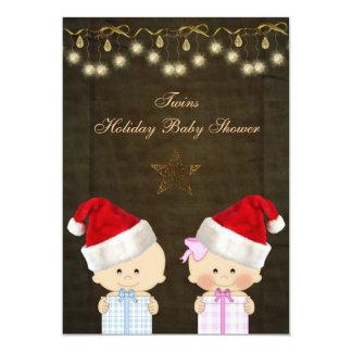 Boy & Girl Twins Christmas Baby Shower 5x7 Paper Invitation Card