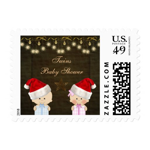 Boy & Girl Twins Christmas Baby Shower Stamps