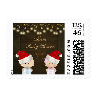 Boy Girl Twins Christmas Baby Shower Stamps