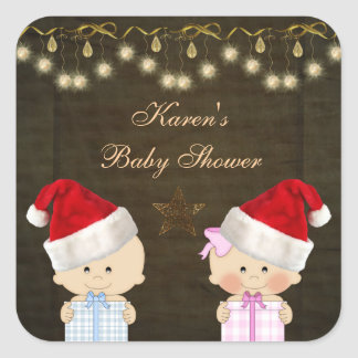 Boy & Girl Twins Christmas Baby Shower Stickers