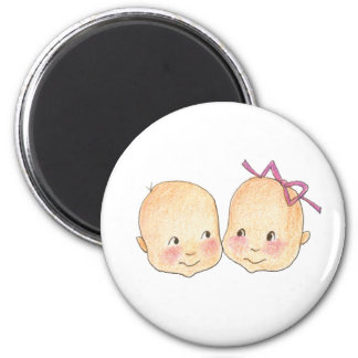 Boy Girl Twins Graphic 2 Inch Round Magnet