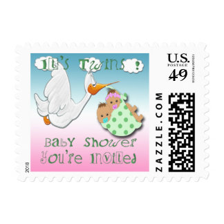 Boy & Girl Twins - Stork Baby Shower Postage