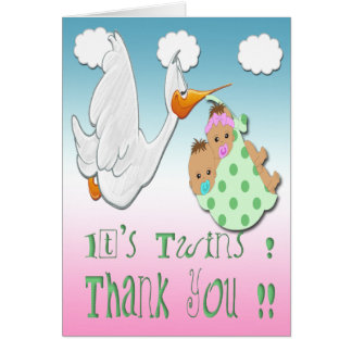 Boy & Girl Twins-Stork Baby Shower Thank You Card