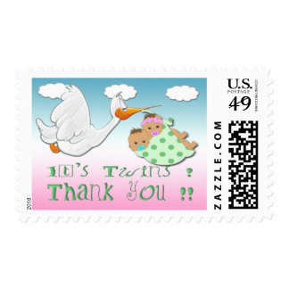 Boy & Girl Twins - Stork Baby Shower Thank You Pos Postage