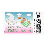 Boy & Girl Twins - Stork Baby Shower Thank You Pos Stamps
