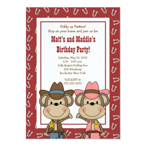 BOY & GIRL Western Cowboy Monkey 5x7 Birthday Card