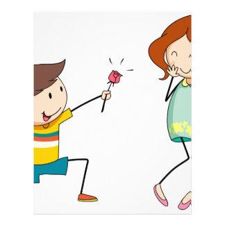Boy giving flower to girlfriend letterhead