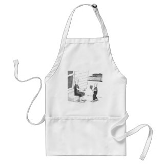 Boy Giving Grandmother Flowers Adult Apron