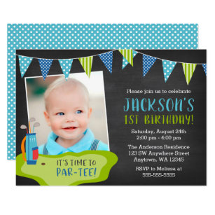 Boy 1st birthday invitations zazzle boy golf birthday party photo invitations filmwisefo