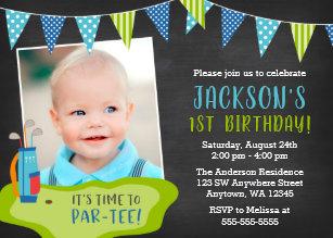 Boy 1st birthday invitations zazzle boy golf birthday party photo invitations filmwisefo