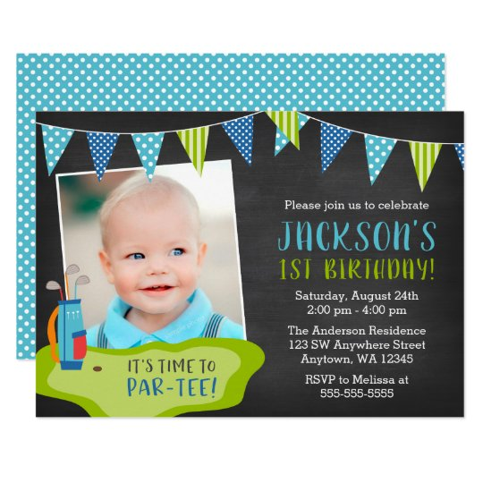 Boy golf birthday party photo invitations zazzle boy golf birthday party photo invitations filmwisefo