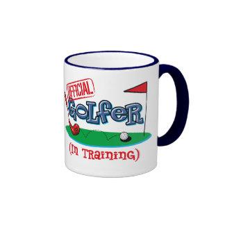 Boy Golfer In Training Ringer Mug