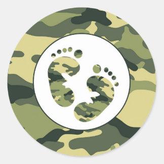 BOY Green camo baby feet favor stickers