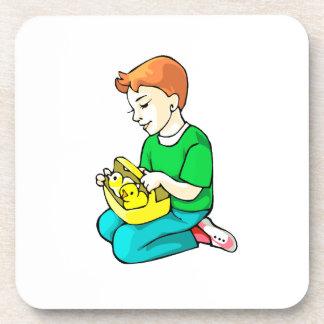 boy green shirt chickens in basket easter beverage coaster