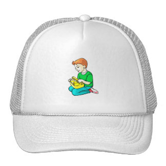 boy green shirt chickens in basket easter trucker hat