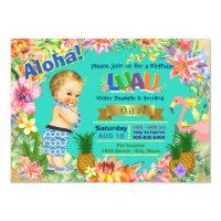 Boy Hawaiian Luau Birthday Party 1st Invitations