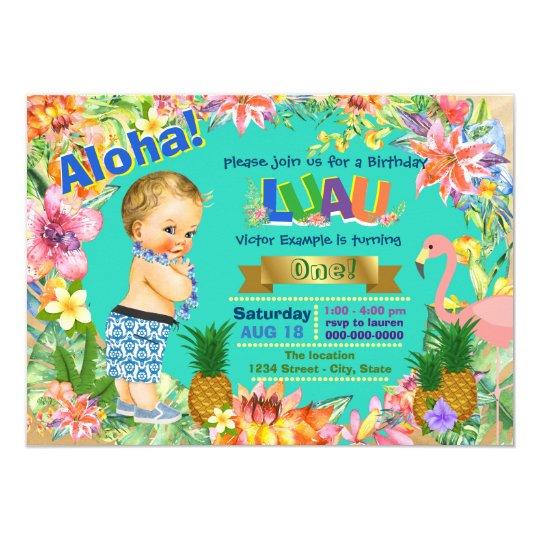 Boy Hawaiian Luau Birthday Party Invitation