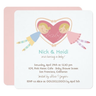 Boy Hearts & Love Girl Couples Baby Shower Invite