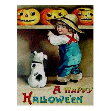 Halloween Themed Boy & His Dog Looking At Jack O' Lanterns Postcard