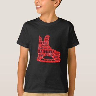 Boy hockey player T-shirt - red skate with words