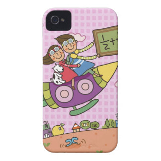 Boy holding a blackboard sitting with a girl on iPhone 4 Case-Mate cases