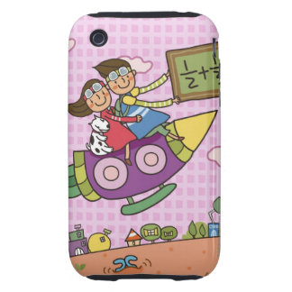 Boy holding a blackboard sitting with a girl on tough iPhone 3 case