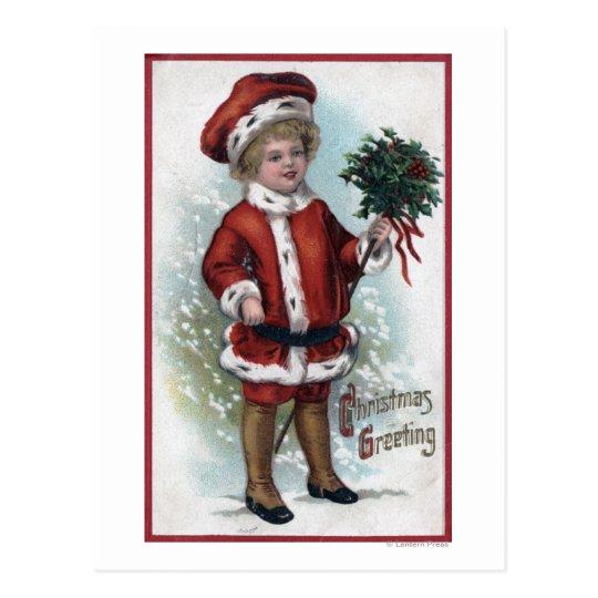Boy Holding a Bushel of Holly Postcard