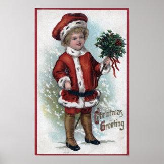 Boy Holding a Bushel of Holly Poster