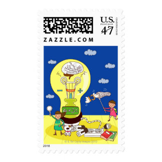 Boy holding a butterfly net with a girl holding postage stamp