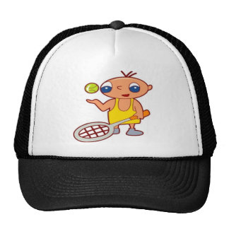 Boy holding a tennis racke trucker hat