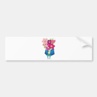 boy holding flowers bumper sticker