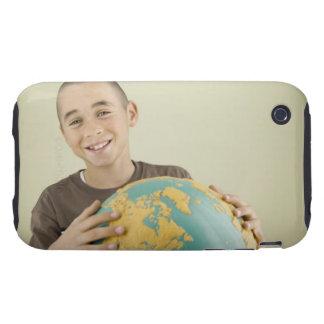 Boy holding globe tough iPhone 3 cases