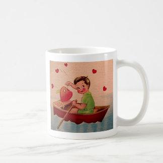 Boy Holding Heart in Boat Coffee Mugs