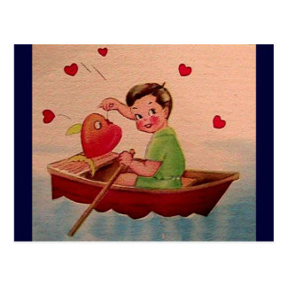 Boy Holding Heart in Boat Postcard