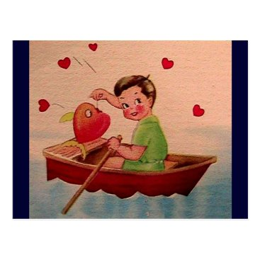 Valentines Themed Boy Holding Heart in Boat Postcard
