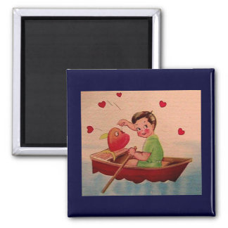 Boy Holding Heart in Boat Refrigerator Magnets