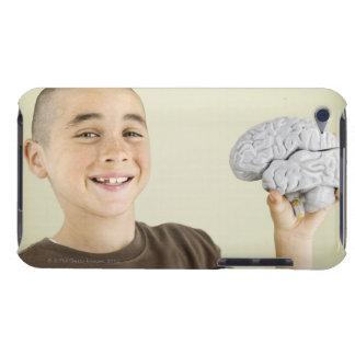 Boy holding human brain model iPod Case-Mate case