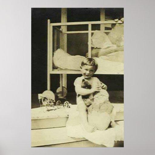 Boy holding teddy bear print